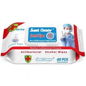 Antibacterial Alcohol Wipes, 75% Alcohol, 60PCS